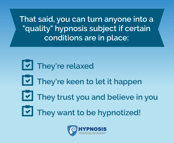 hypnosis who is susceptible conditions subjects